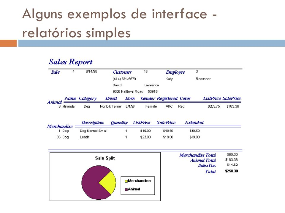 Alguns exemplos de interface - relatórios simples