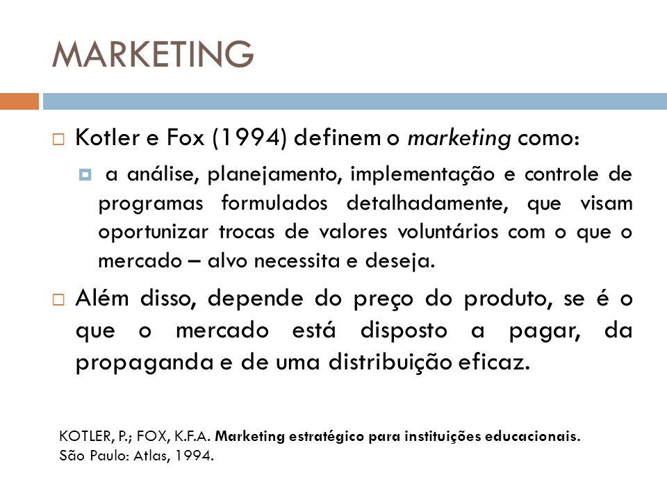 MARKETING Kotler e Fox (1994) definem o marketing como: