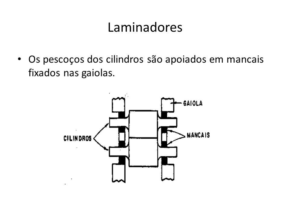 Laminadores Os pescoços dos cilindros são apoiados em mancais fixados nas gaiolas.