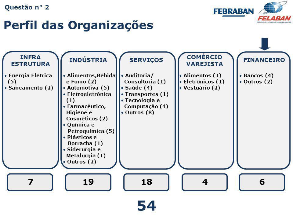 54 Perfil das Organizações 7 19 18 4 6 Questão n° 2 INFRA ESTRUTURA