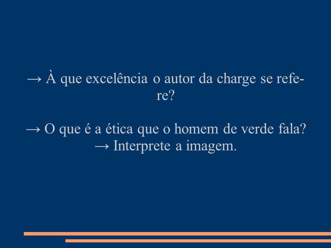 → À que excelência o autor da charge se refe- re