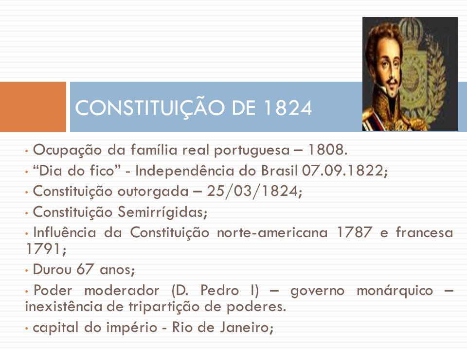 CONSTITUIÇÃO DE 1824 Ocupação da família real portuguesa – 1808.