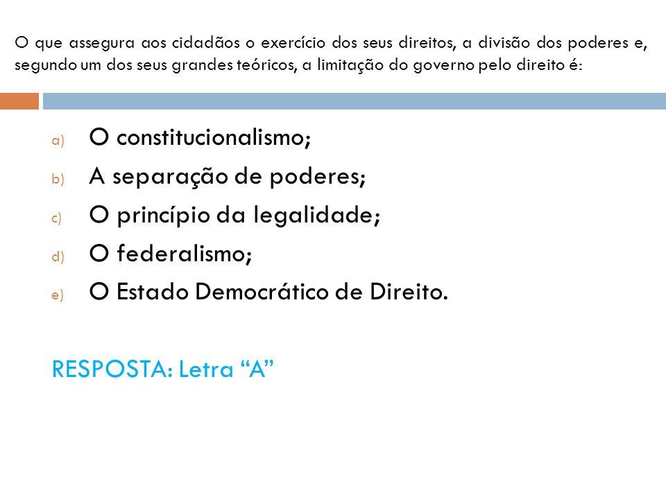 O constitucionalismo; A separação de poderes;
