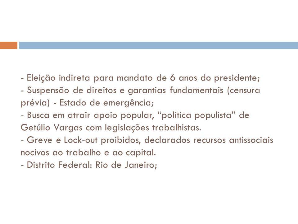 - Eleição indireta para mandato de 6 anos do presidente; - Suspensão de direitos e garantias fundamentais (censura prévia) - Estado de emergência; - Busca em atrair apoio popular, política populista de Getúlio Vargas com legislações trabalhistas.