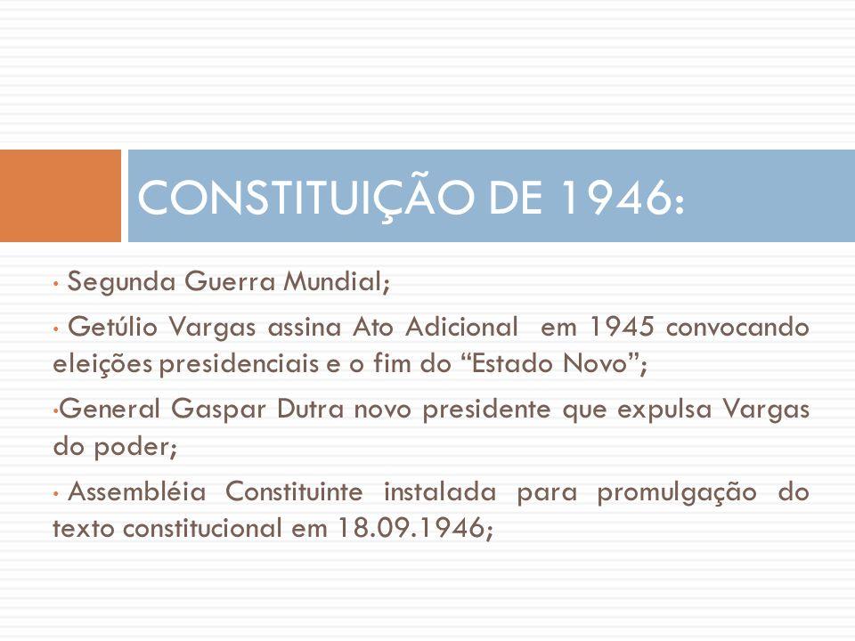 CONSTITUIÇÃO DE 1946: Segunda Guerra Mundial;