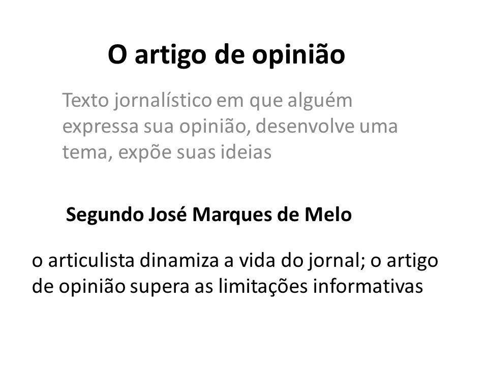 O artigo de opinião Texto jornalístico em que alguém expressa sua opinião, desenvolve uma tema, expõe suas ideias.