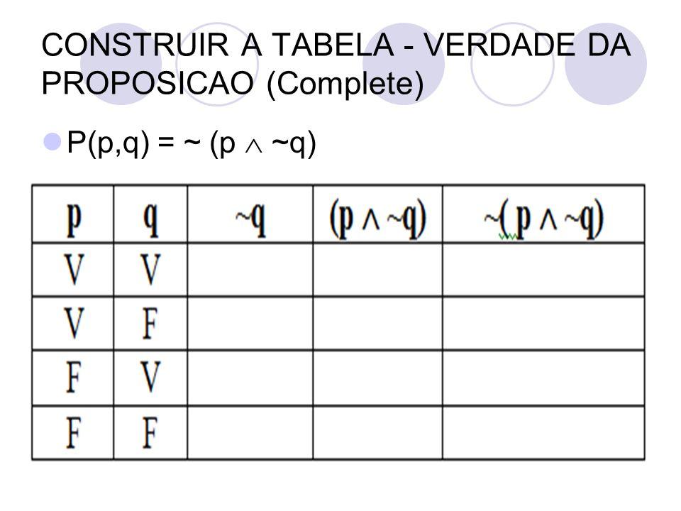 CONSTRUIR A TABELA - VERDADE DA PROPOSICAO (Complete)