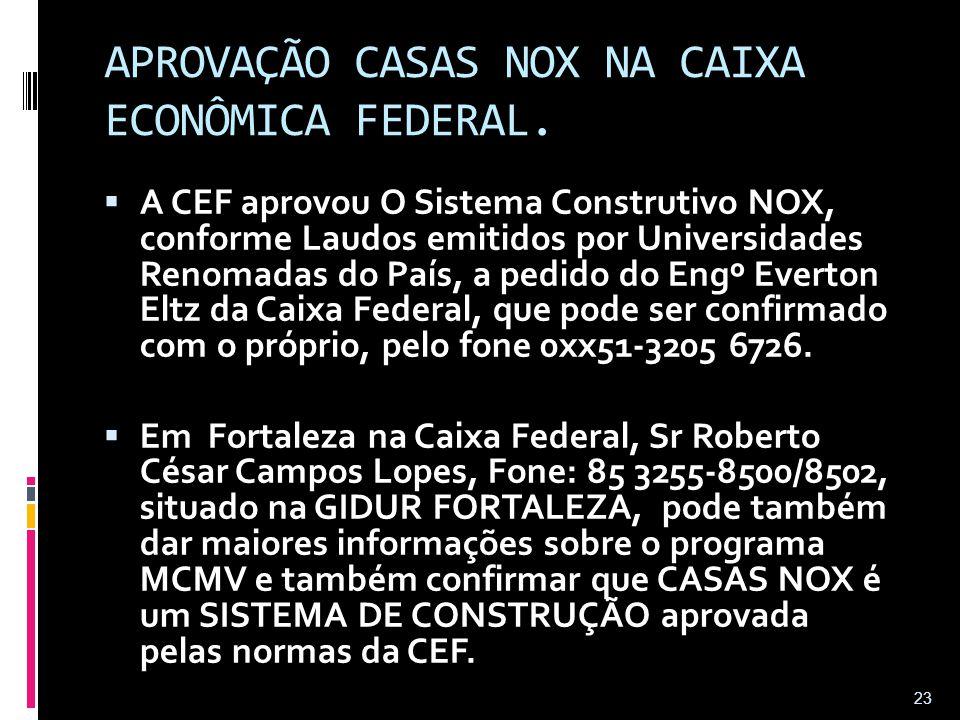 APROVAÇÃO CASAS NOX NA CAIXA ECONÔMICA FEDERAL.