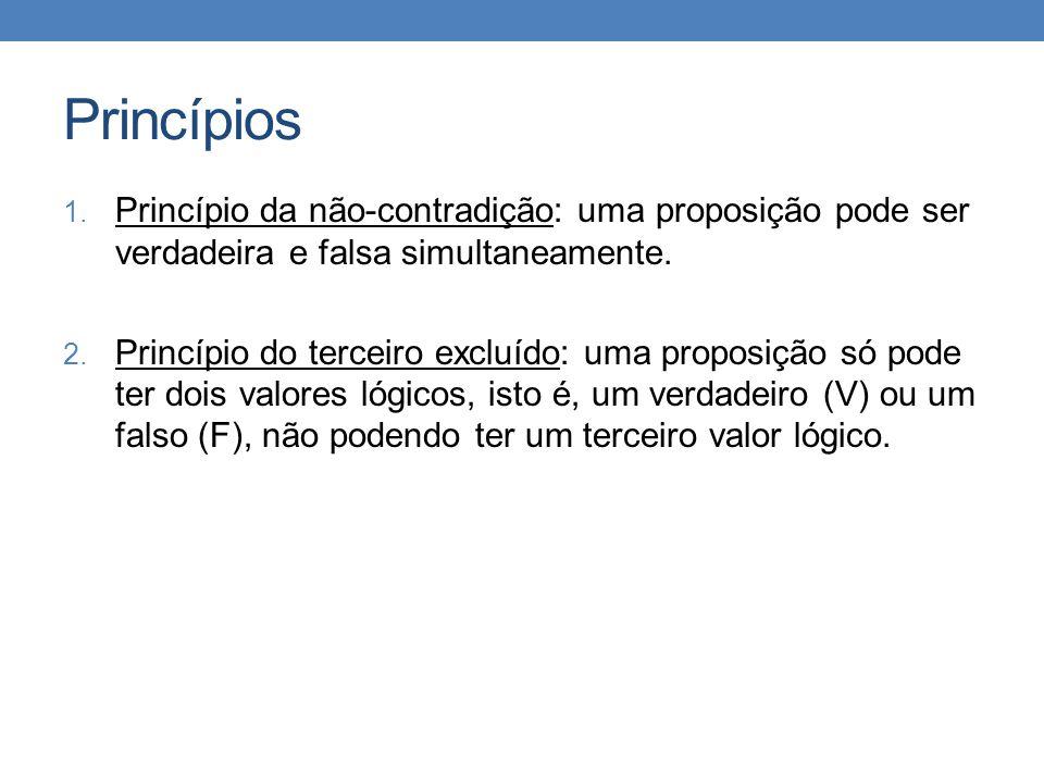 Princípios Princípio da não-contradição: uma proposição pode ser verdadeira e falsa simultaneamente.