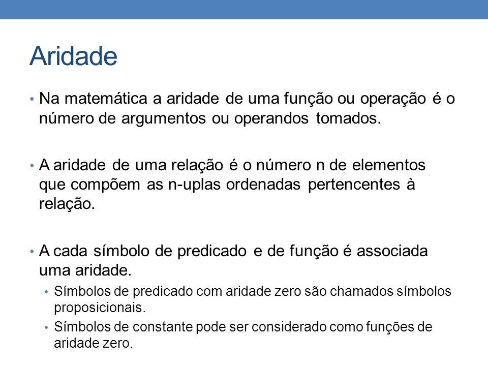 Aridade Na matemática a aridade de uma função ou operação é o número de argumentos ou operandos tomados.