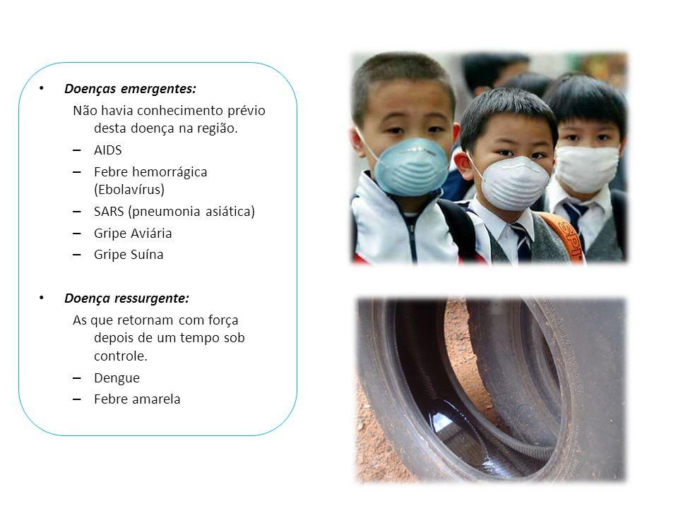 Doenças emergentes: Não havia conhecimento prévio desta doença na região. AIDS. Febre hemorrágica (Ebolavírus)