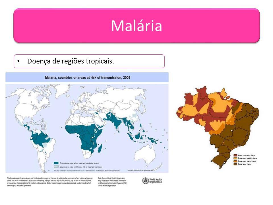 Malária Doença de regiões tropicais.