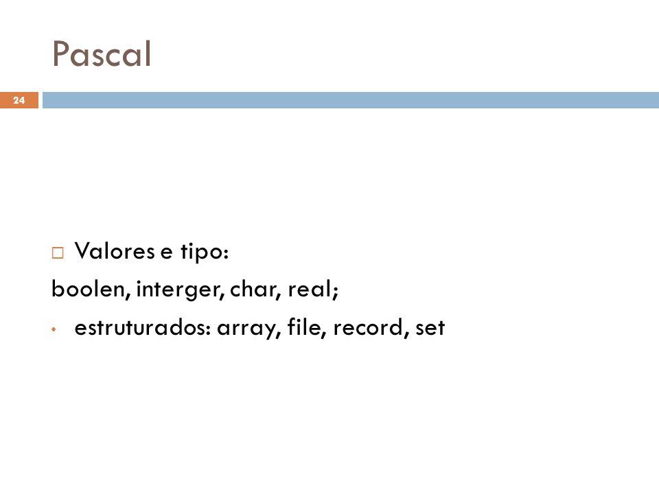 Pascal Valores e tipo: boolen, interger, char, real;