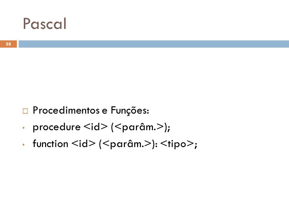 Pascal Procedimentos e Funções: procedure <id> (<parâm.>);