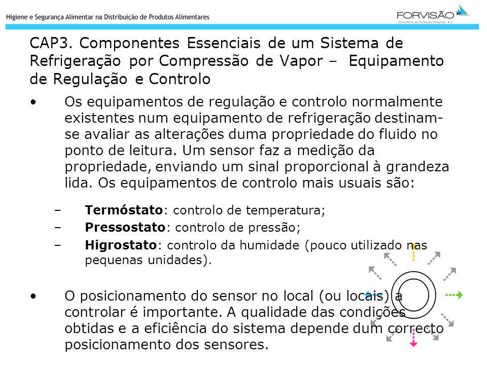 CAP3. Componentes Essenciais de um Sistema de Refrigeração por Compressão de Vapor – Equipamento de Regulação e Controlo