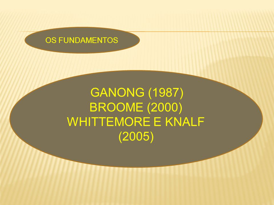 OS FUNDAMENTOS GANONG (1987) BROOME (2000) WHITTEMORE E KNALF (2005)