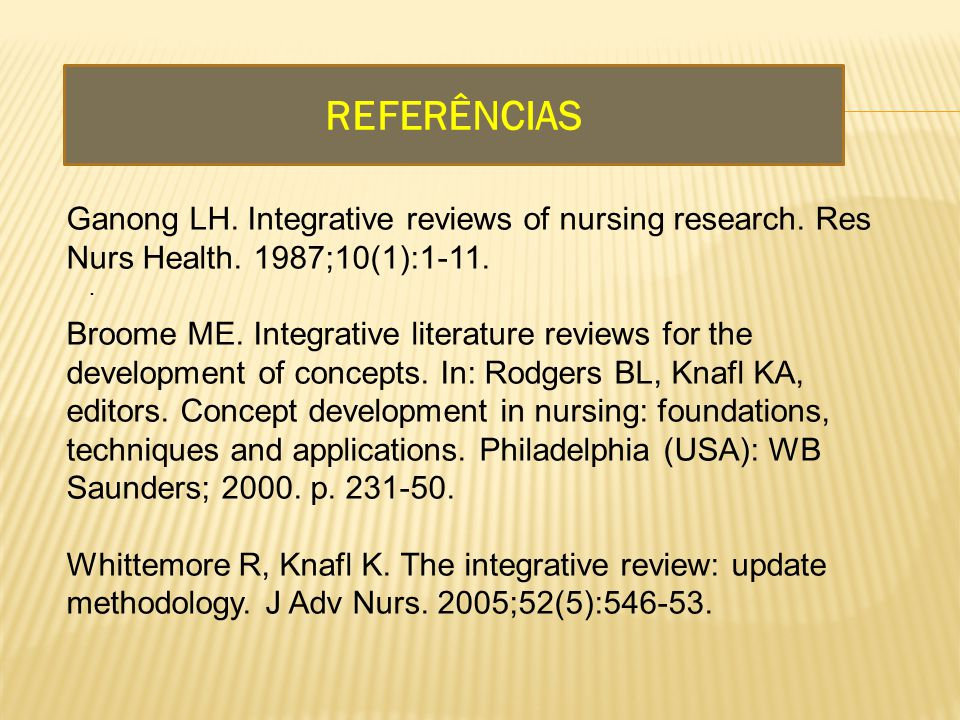 REFERÊNCIAS Ganong LH. Integrative reviews of nursing research. Res Nurs Health. 1987;10(1):1-11.