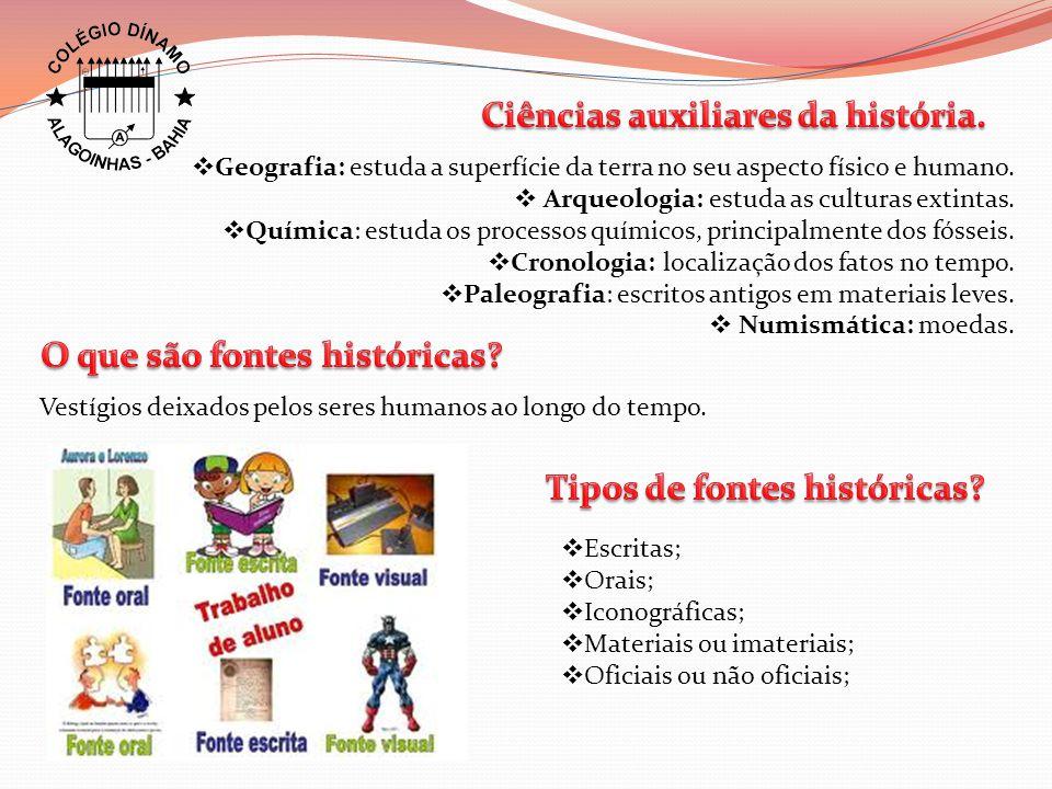 Ciências auxiliares da história.