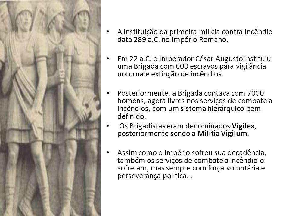 A instituição da primeira milícia contra incêndio data 289 a. C