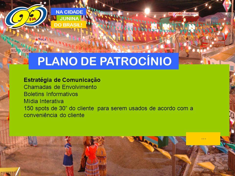 PLANO DE PATROCÍNIO Estratégia de Comunicação Chamadas de Envolvimento