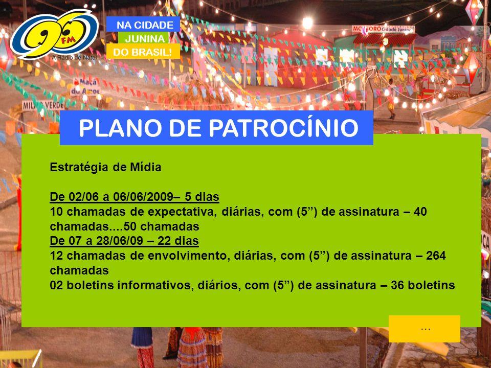 PLANO DE PATROCÍNIO Estratégia de Mídia De 02/06 a 06/06/2009– 5 dias