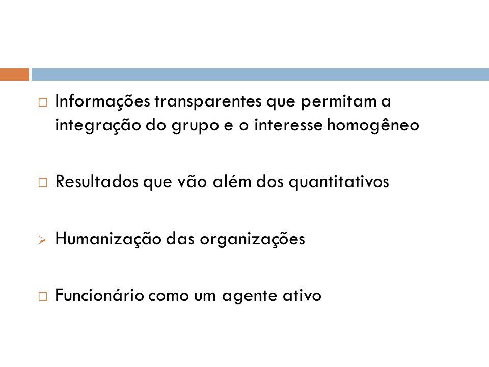 Informações transparentes que permitam a integração do grupo e o interesse homogêneo