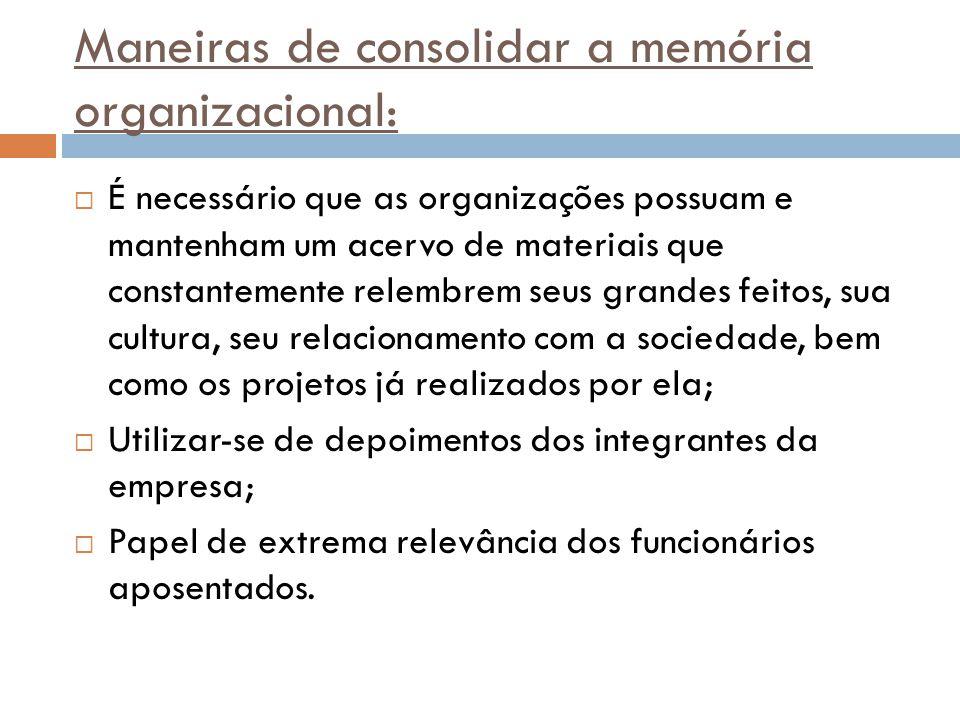 Maneiras de consolidar a memória organizacional: