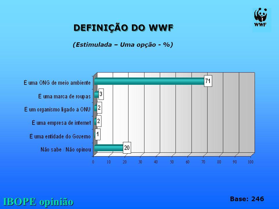 DEFINIÇÃO DO WWF (Estimulada – Uma opção - %) Base: 246