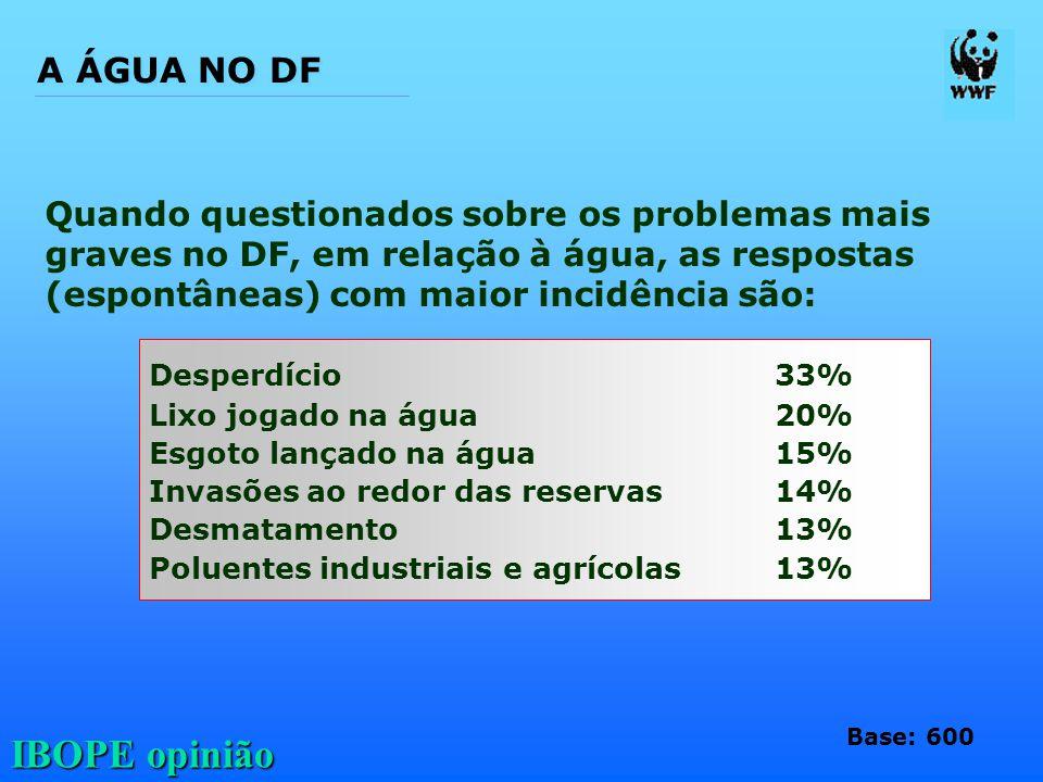 A ÁGUA NO DF Quando questionados sobre os problemas mais graves no DF, em relação à água, as respostas (espontâneas) com maior incidência são: