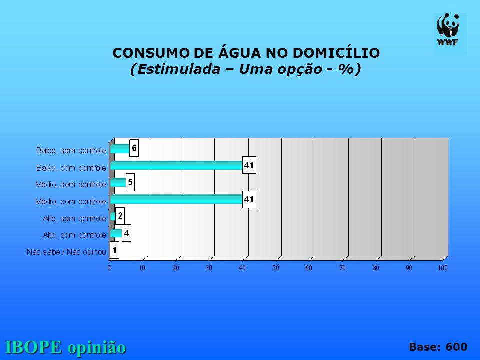 CONSUMO DE ÁGUA NO DOMICÍLIO (Estimulada – Uma opção - %)