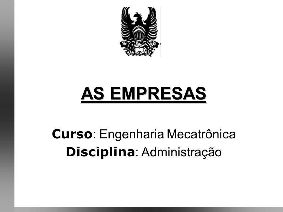 Curso: Engenharia Mecatrônica Disciplina: Administração