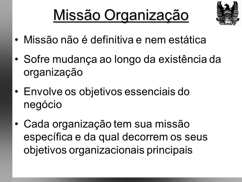 Missão Organização Missão não é definitiva e nem estática