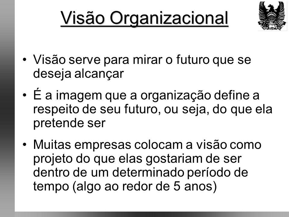 Visão Organizacional Visão serve para mirar o futuro que se deseja alcançar.