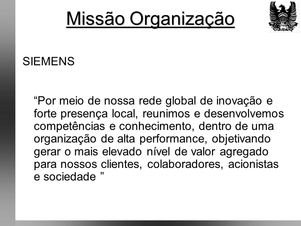 Missão Organização SIEMENS
