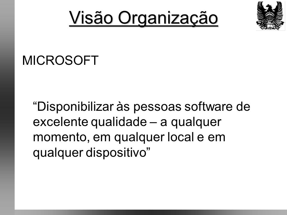 Visão Organização MICROSOFT