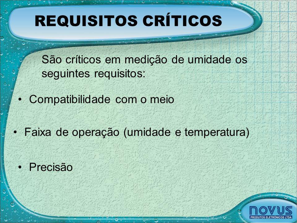 REQUISITOS CRÍTICOS São críticos em medição de umidade os seguintes requisitos: Compatibilidade com o meio.