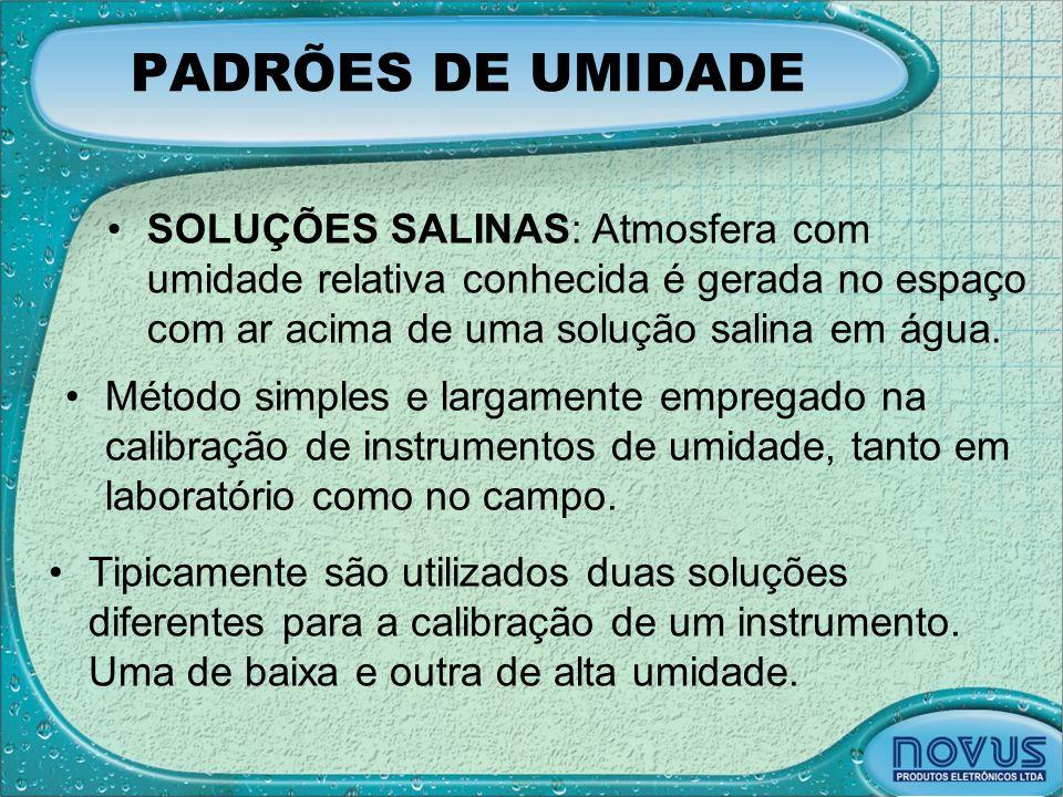 PADRÕES DE UMIDADE SOLUÇÕES SALINAS: Atmosfera com umidade relativa conhecida é gerada no espaço com ar acima de uma solução salina em água.