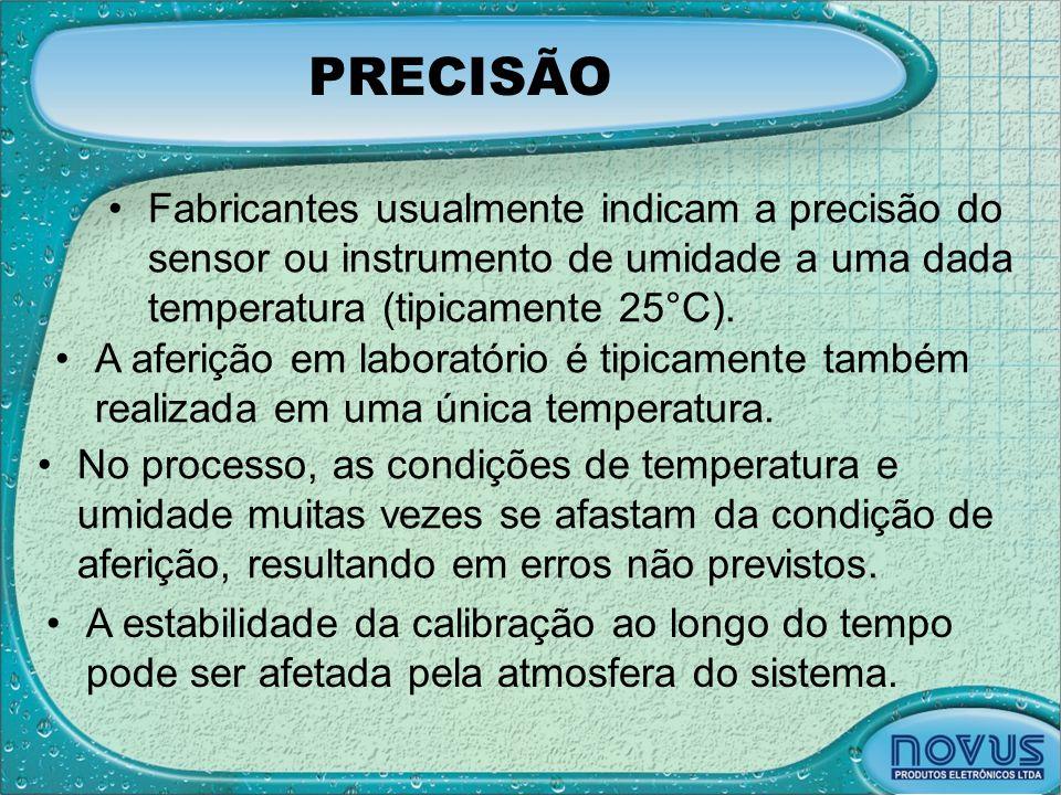PRECISÃO Fabricantes usualmente indicam a precisão do sensor ou instrumento de umidade a uma dada temperatura (tipicamente 25°C).