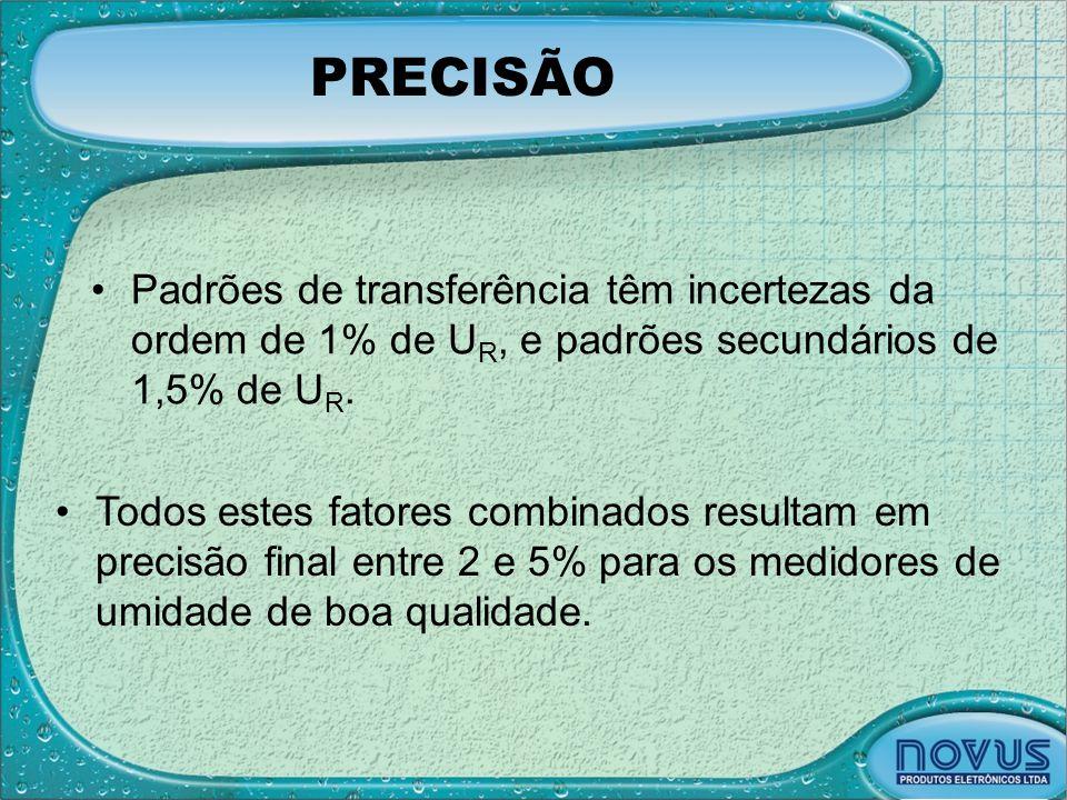 PRECISÃO Padrões de transferência têm incertezas da ordem de 1% de UR, e padrões secundários de 1,5% de UR.