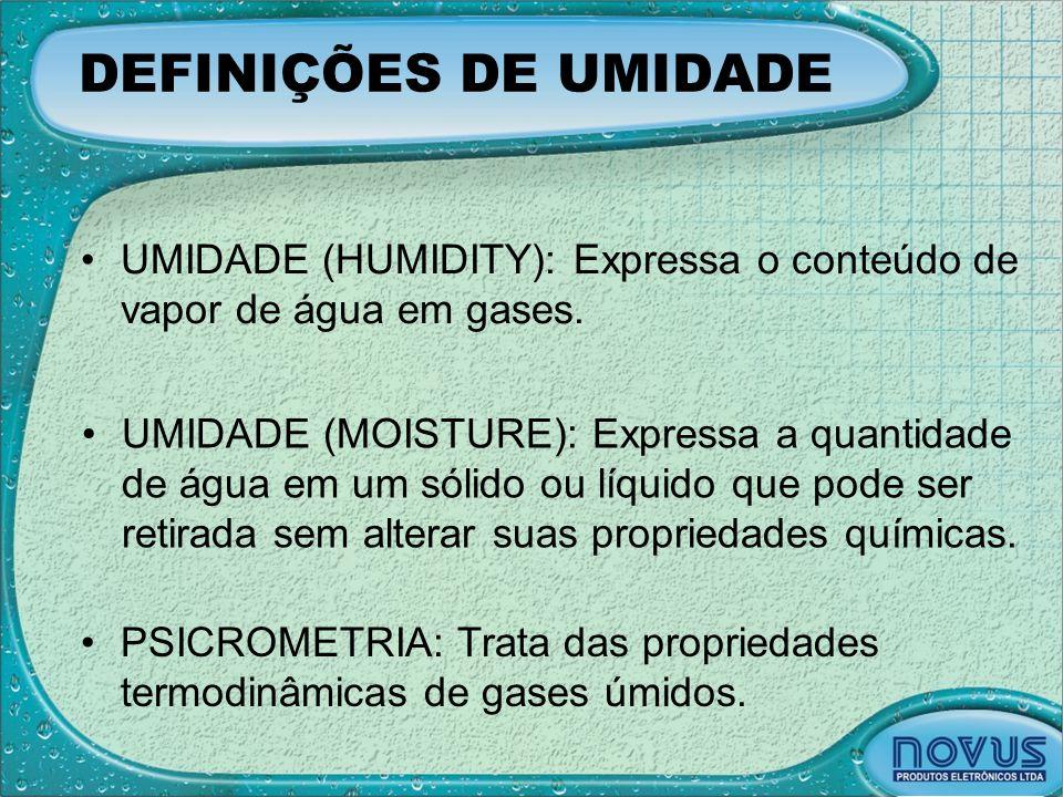 DEFINIÇÕES DE UMIDADE UMIDADE (HUMIDITY): Expressa o conteúdo de vapor de água em gases.