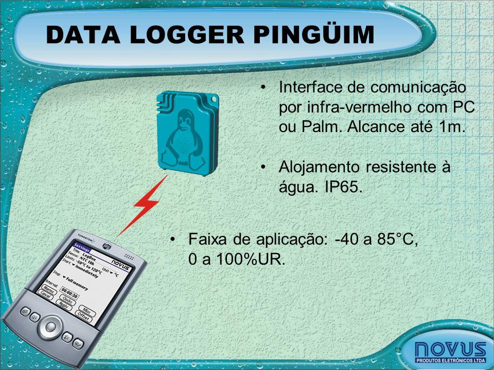 DATA LOGGER PINGÜIM Interface de comunicação por infra-vermelho com PC ou Palm. Alcance até 1m. Alojamento resistente à água. IP65.