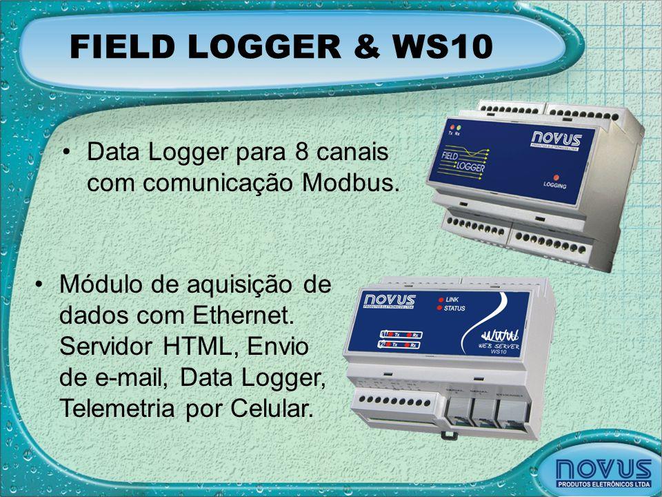 FIELD LOGGER & WS10 Data Logger para 8 canais com comunicação Modbus.
