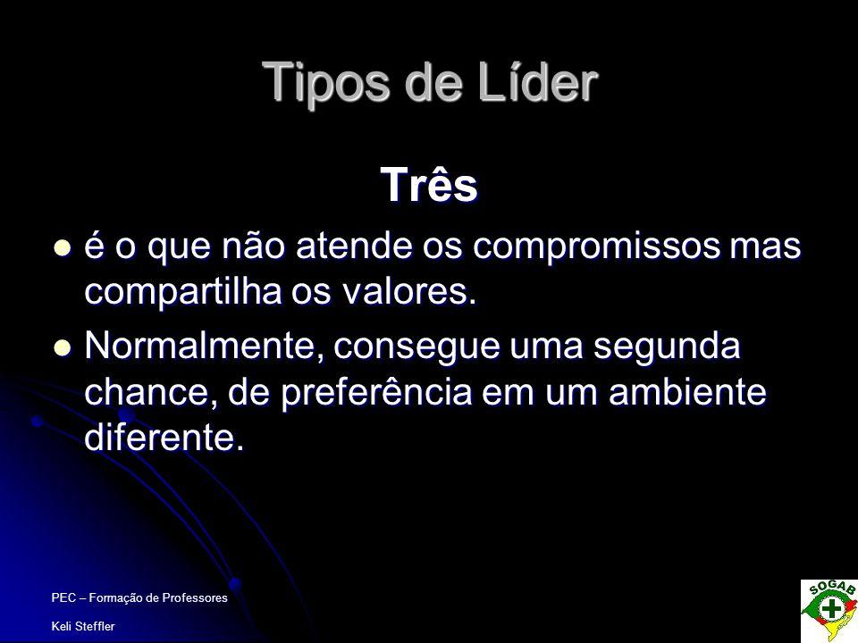 Tipos de Líder Três. é o que não atende os compromissos mas compartilha os valores.