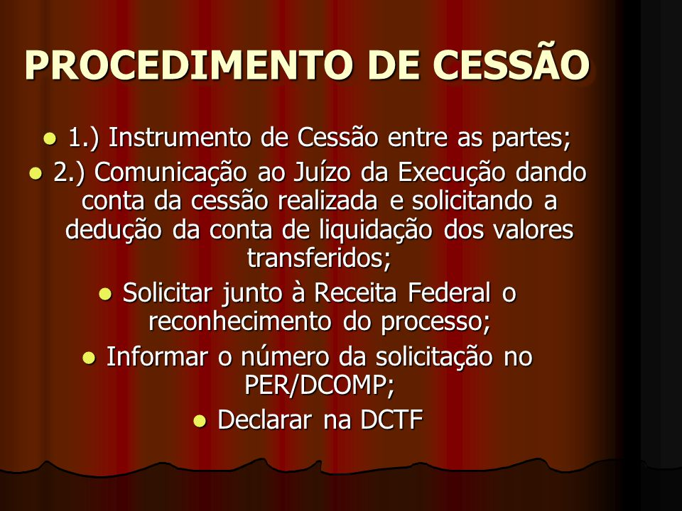 PROCEDIMENTO DE CESSÃO