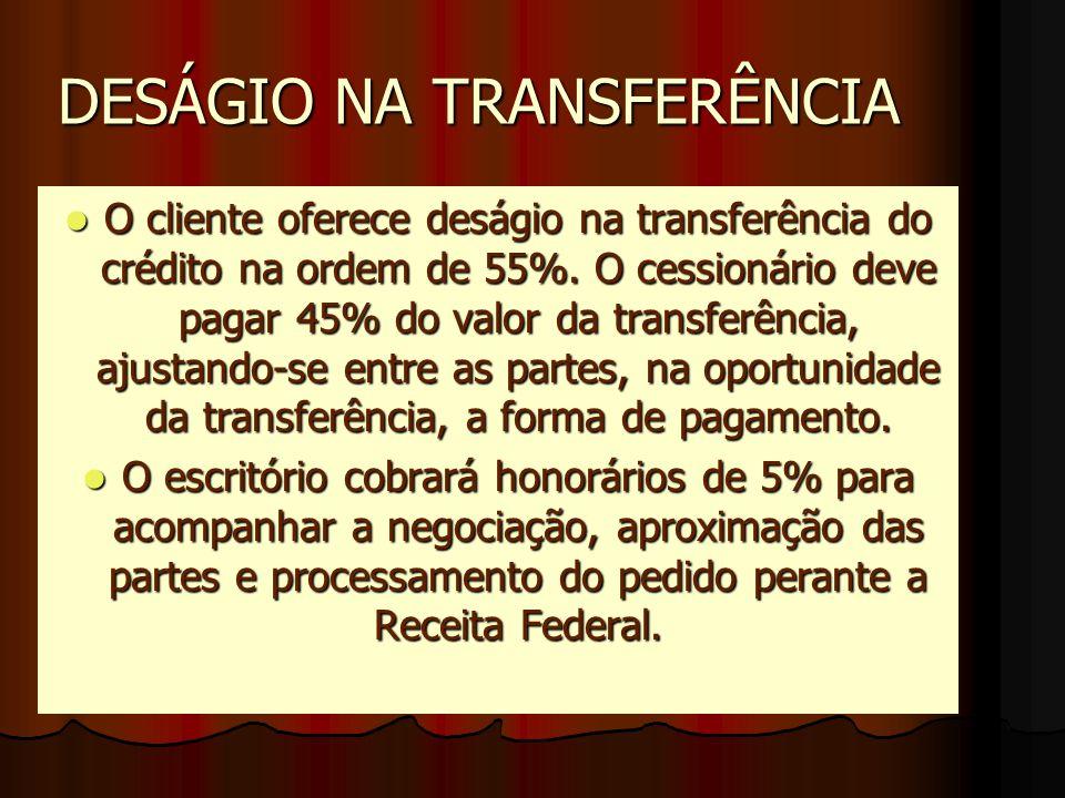 DESÁGIO NA TRANSFERÊNCIA