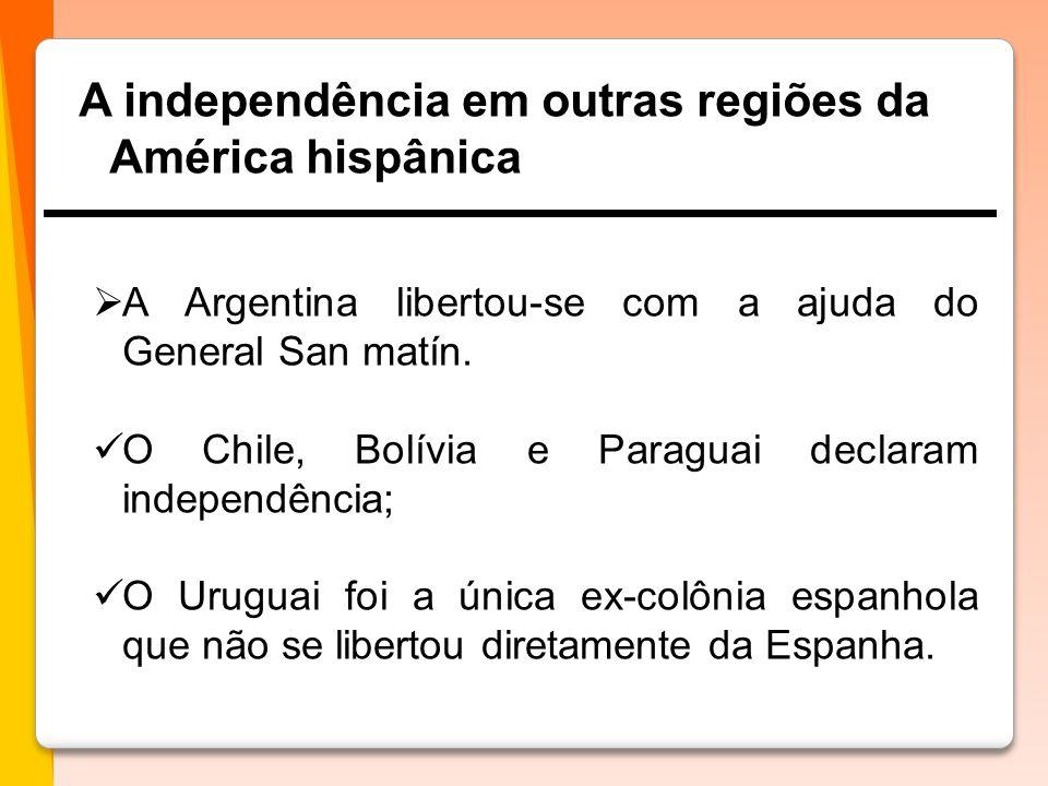 A independência em outras regiões da América hispânica