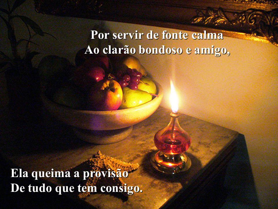 Por servir de fonte calma Ao clarão bondoso e amigo,