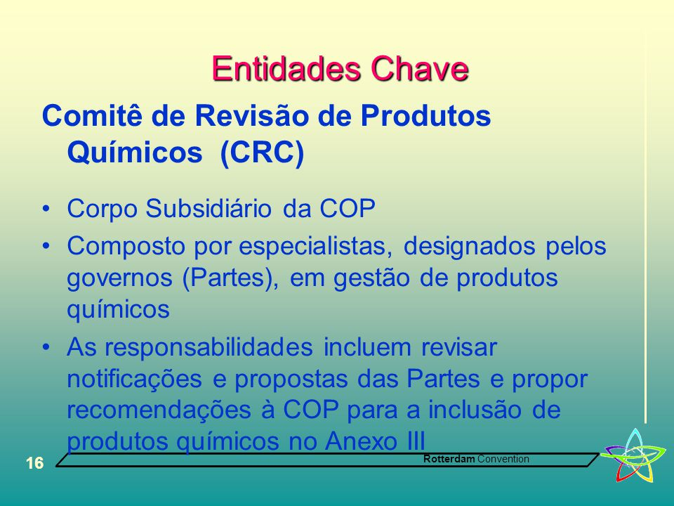 Entidades Chave Comitê de Revisão de Produtos Químicos (CRC)