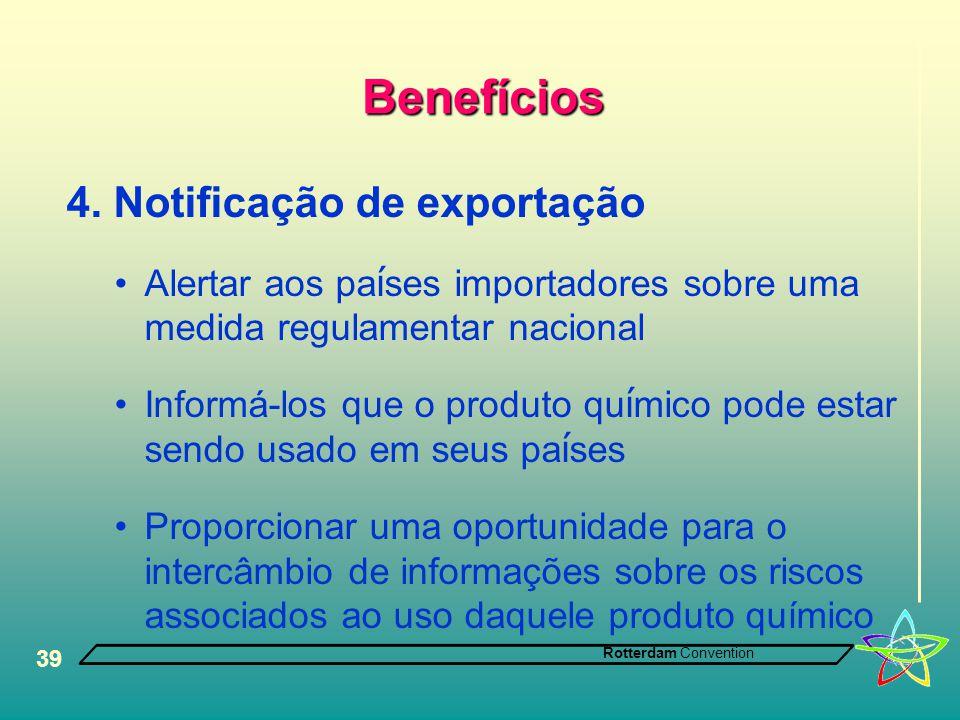 Benefícios 4. Notificação de exportação