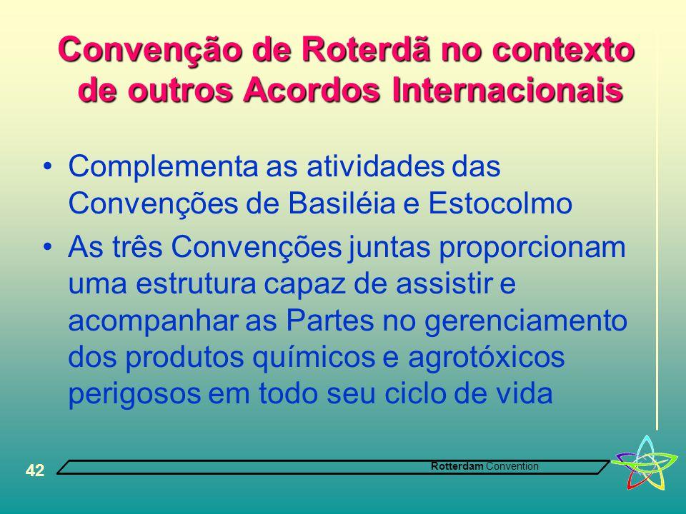Convenção de Roterdã no contexto de outros Acordos Internacionais